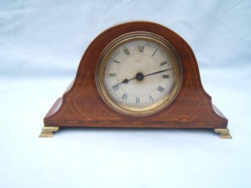Vintage Walnut inlaid mantel clock on Brass feet.Paper face M21