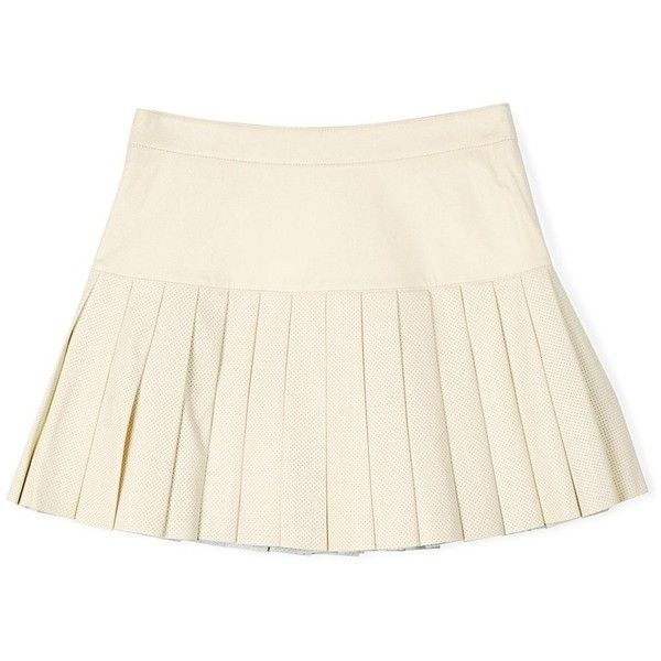 Pam & Gela Pleated Short Leather Skirt (£157) ❤ liked on Polyvore featuring skirts, mini skirts, bottoms, cream, short white skirt, short skirts, leather mini skirt, white leather skirt and white mini skirt