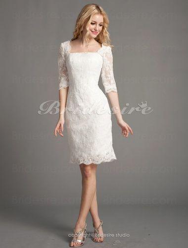 Bridesire - Sheath/Column Lace Short/Mini Square Wedding Dress [488364] - US$138.99 : Bridesire