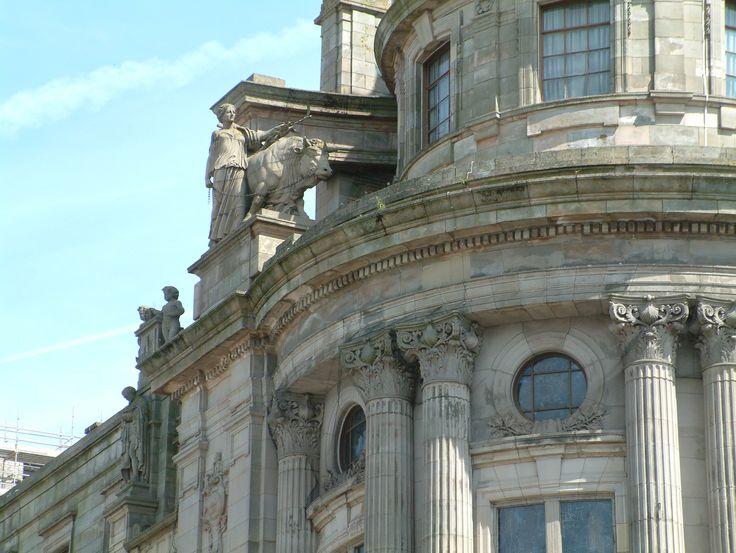 Detail of Clydeport Building extension, Glasgow, built 1906-1908, allegorical sculptures by Albert Hodge
