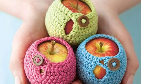 Crochet Apple Jackets: Go on, you know you want one – they might not be practical, but they're so irresistible! This is a very simple pattern, using the most basic of crochet stitches. You don't even have to know how to decrease! http://www.guardian.co.uk/lifeandstyle/2011/oct/18/make-crochet-apple-jacket