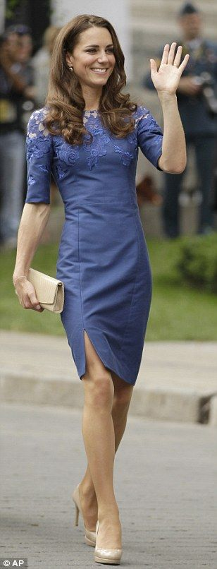 Kate Middleton, Duchess of Cambridge. I like this dress.......gray or silver would work.