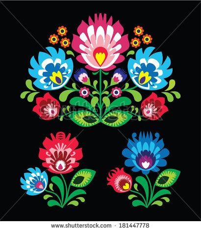 Polish floral folk embroidery pattern on black - wzor lowicki  by RedKoala #poland #print #ethnic