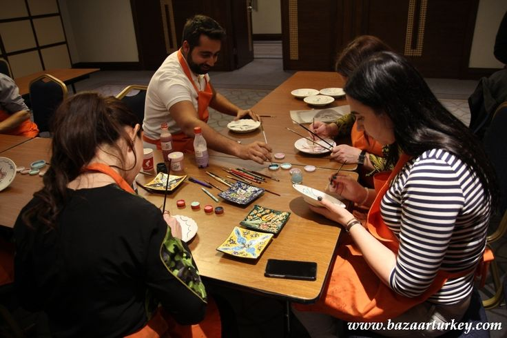 Traditional Turkish and Ottoman Tile Ceramic Design Workshop in Istanbul for this very nice meeting Group.  April 2016 http://bazaarturkey.com/shop/art-workshops-istanbul/turkish-tile-ceramic-lesson