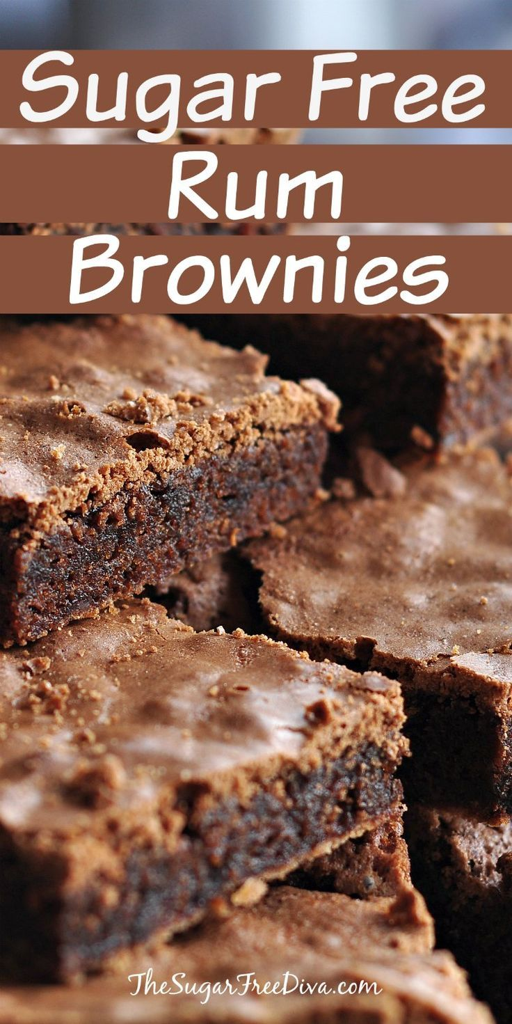 Sugar Free Rum Brownies- an easy and delicious recipe that can be made sugar free or with sugar added.
