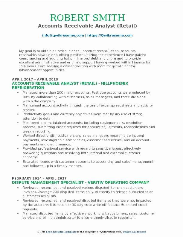 Accounts Receivable Analyst Resume Unique Accounts Receivable Analyst Resume Samples Resume Guru Riwayat Hidup Sdlc