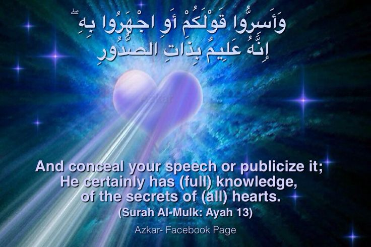 And conceal your speech or publicize it; He certainly has (full) knowledge, of the secrets of (all) hearts. (Quran 67:13)