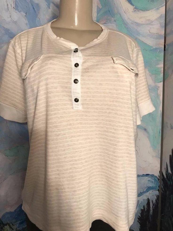 Ralph Lauren Jeans Co. XL Beige Striped Button Neckline Cotton Short Sleeve Top  #RALPHLAURENJEANSCO #PULLOVER #Casual