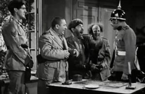 Boobs in Arms, starring the Three Stooges (Curly Howard, Moe Howard, Larry Fine) and Nat Pendleton  http://threestoogespictures.info/boobs-in-arms-three-stooges-moe-howard-larry-fine-curly-howard/