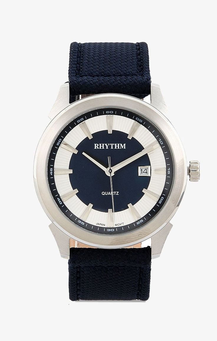 Navy blue G1205L03 M Watches by RHYTHM. Analog watch with navy blue nylon band, stainless steel case, this chic watch is water resistant, case 4.2 cm x 4.85 cm, strap 25 cm x 2.2 cm. Looking good with this super cool watch. http://zocko.it/LEKKs