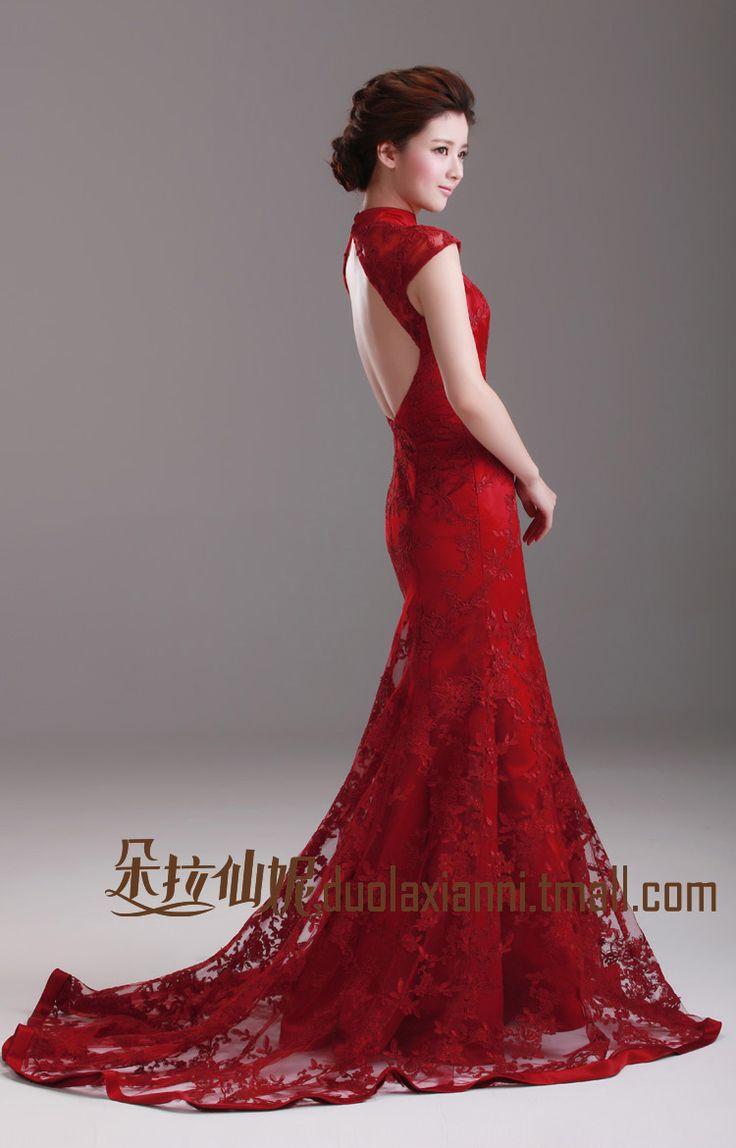 Dora Long Design Racerback Dress Bride Evening Vintage Lace Wine Red Formal