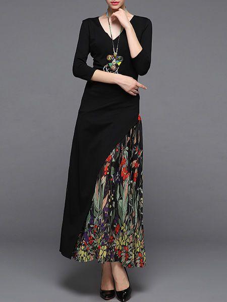 Asymmetric Paneled Cotton-blend Maxi Dress
