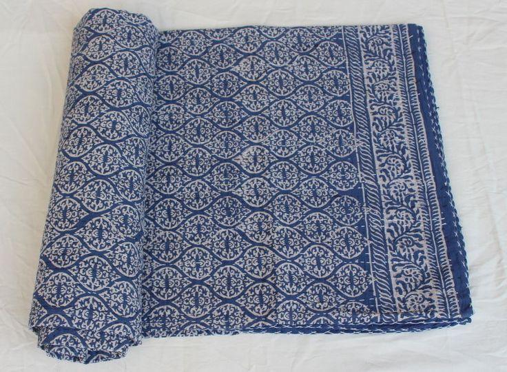 Hand Block Anokhi Print Indigo Blue 100%Cotton Kantha Bed Cover Throw Queen size