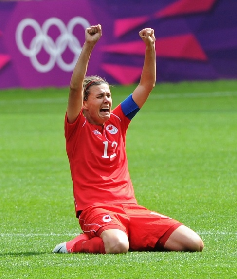Christine Sinclair (#12) of the Canadian Women's National Team celebrating the game winning goal in the London 2012 Olympic Bronze Medal match. Love the raw emotion. Well deserved win!