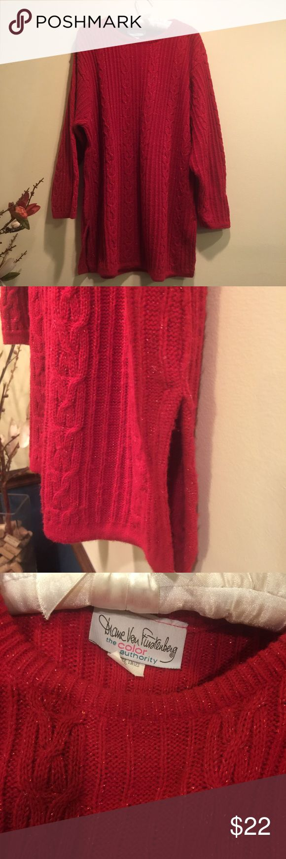 Diane von Furstenberg red sparkly sweater Size m/l. Lovely red sparkly sweater perfect for the holidays. This would be so cute with leggings and boots!  Great condition. Diane Von Furstenberg Sweaters Crew & Scoop Necks