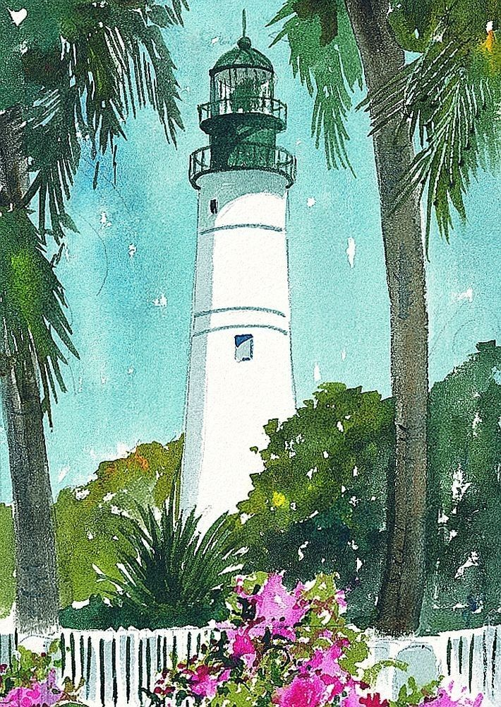 Key West Decor Signs | Key West Lighthouse Florida Keys Matted Watercolor Art Prints | eBay