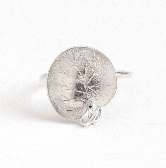 Sale - Antique Sterling Silver Water Lily Pad Plant Ring - Vintage Art Nouveau 1910s Size 3 Dainty Stick Pin Conversion Edwardian Jewelry by Maejean Vintage on Etsy