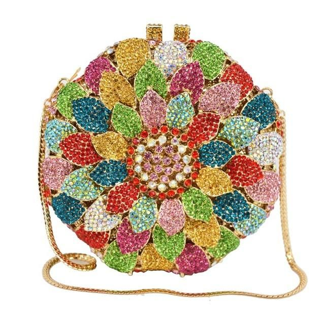 Ladies Floral Bohemian Crystal Evening Purse