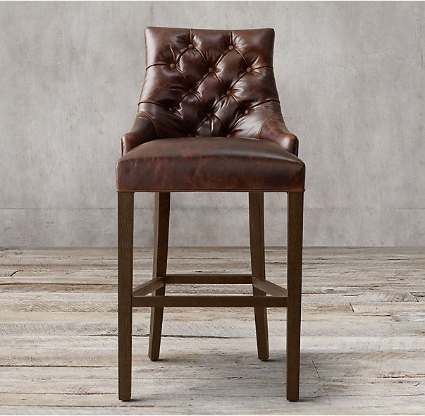 RH s Martine Tufted Leather Stool Inspired by a French design our solid oak Martine dining chair is elegant yet fortable