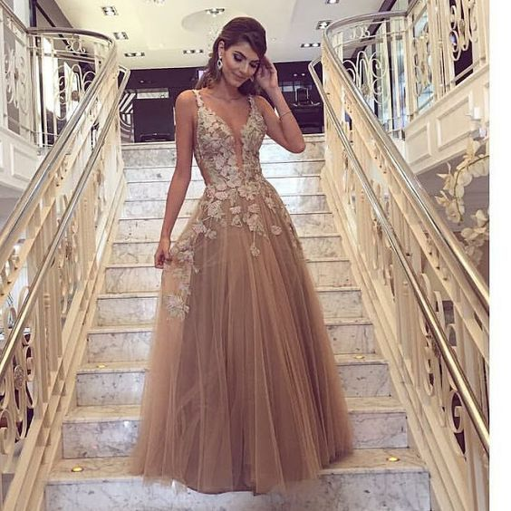 A-line Prom Dresses,Tulle with Appliques Evening Dresses,Floor Length Women Dress