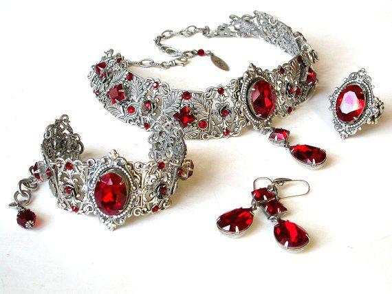 Gothic Ring Bracelet Wedding Slave Bracelet Red by LeBoudoirNoir