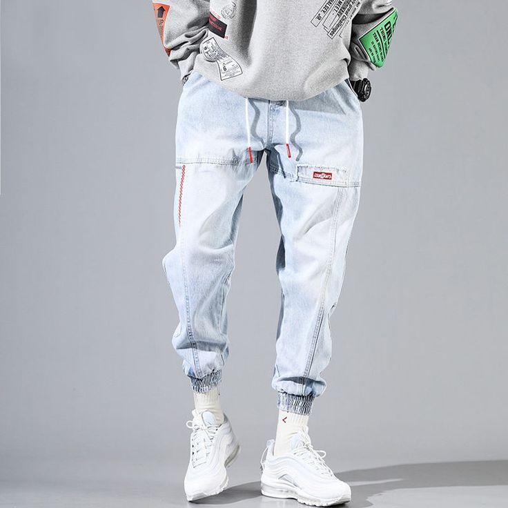 Buy Baggy Jeans Men Blue Black Ripped Jeans Hip hop Streetwear Harem Ankle length Denim Pants Elastic Waist  Casual Trousers at Wholesale Price. Free or Lowcost Worldwide Shipping. And large of options in our best Jeans category with cheapest price on Pricetug.com Plaid Jeans, Lässigen Jeans, Black Ripped Jeans, Distressed Skinny Jeans, Denim Pants, Trousers, Cargo Pants, Harem Jeans, Denim Casual