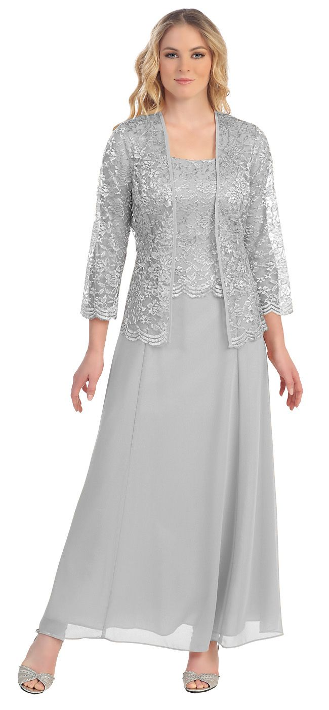 "<p>This long modest silver dress is perfect for mother of the bride or another formal occasion. This chiffon lace with pebble dress has wide sleeveless tank straps and also includes a matching long sleeve lace bolero jacket. A classy dress for many different occasions! <a href=""/short-burgundy-mother-of-groom-dress-chiffon-knee-length-lace-jacket.html"">Click here</a> for the short knee length version. </p>   <ul>     <li>Designer: <a href=""sally-dresses.html"">Sally Fashion</a>.</li…"