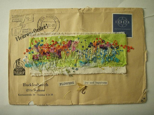 Embroidered envelope by hens teeth, via Flickr