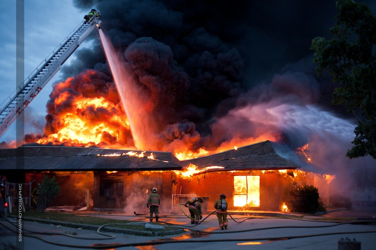 Abandoned Building Fire An abandoned McDonald's restaurant burns in Glace Bay , Nova Scotia, Canada.....this was just up the road from me