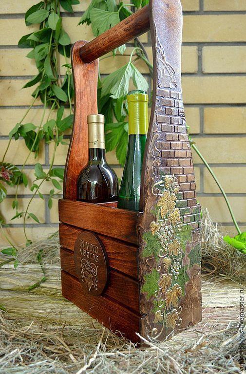 """Купить Короб для вина """"Бахус или истина в вине"""" - коричневый, короб для кухни, виноград, вино"""