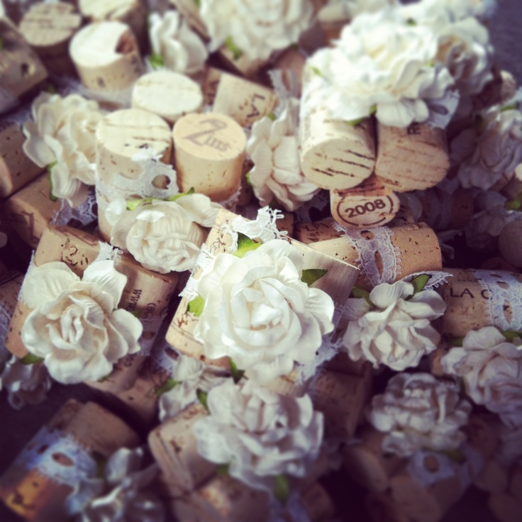 classic 3cork place card holders made with vintage lace and handmade blooms u003c