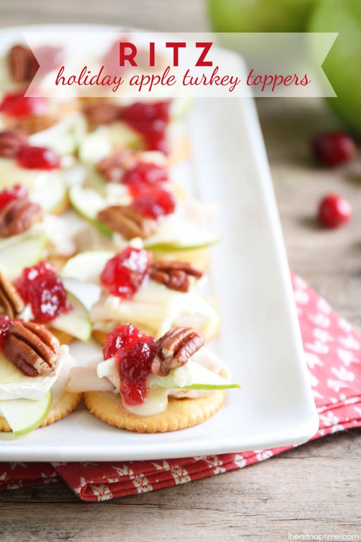 Ritz Turkey Toppers with Apple and Cranberry - a beautiful, delicious appetizers for a holiday party or a simple snack for family movie night. Plus, they're ready in about 20 minutes!