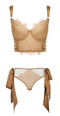 Harlow and Fox Viola bra and tie side brief - luxurious lingerie in nude