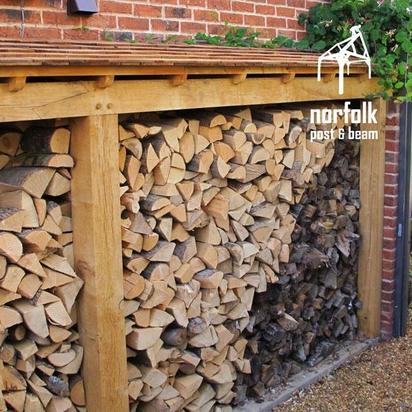 Log store - Oak Framed Buildings, Portfolio, Solid Green Oak
