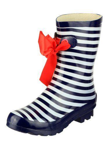 Ladies Nautical Striped Wellies Fashion Rain Festival Snow Winter Short Wellington Boots Sizes UK 4 - 8 Navy Cotswold