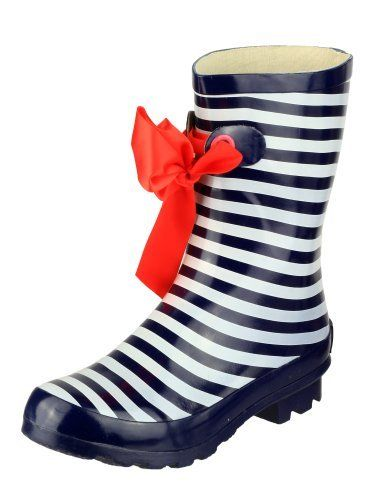 Ladies Nautical Striped Wellies Fashion Rain Festival Snow Winter Short Wellington Boots Sizes UK 4 - 8 Navy Cotswold