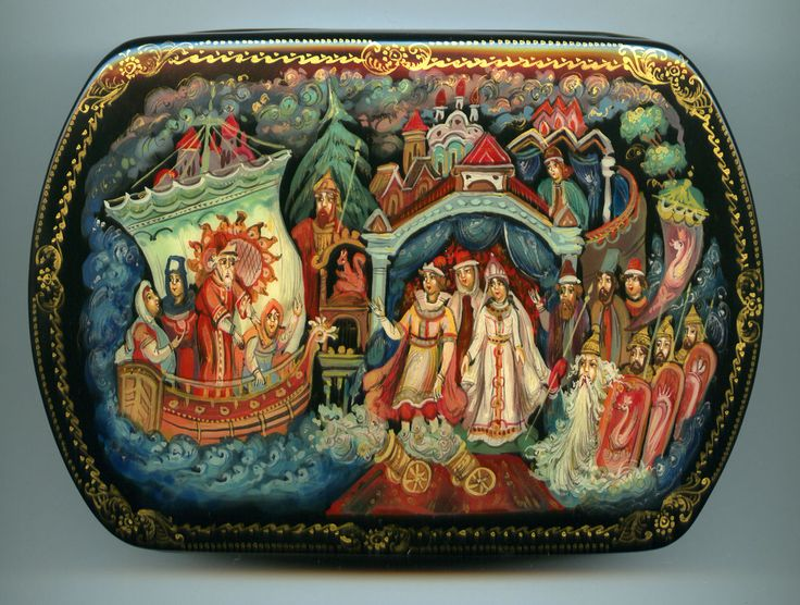 "Russian Lacquer Box Style Palekh ""Tale Tsar Saltan"" Hand Painted 