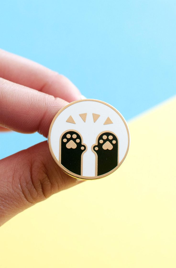 Cat paws enamel pin - this cute and pawsome brooch is a perfect gift for any cat lover. Pin this funny accessory on your shirt, blazer or tote bag and show off just how much cat power you have! #ad #etsy #enamelpin #pingame #catlady