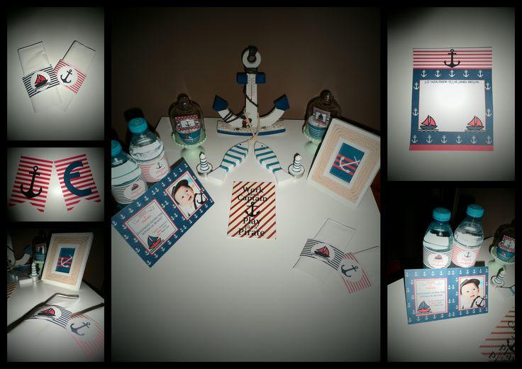 Yelken konsepti  cupcake kabı&süsü,peçete etiketi, davetiye, su şişe etiketi, Dilek Kartı, Flama, Kitap ayracı, Amerikan servis