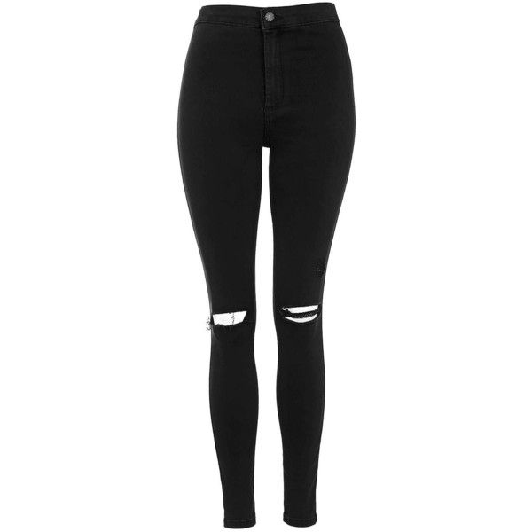 TopShop Petite Black Rip Joni Jeans ($55) ❤ liked on Polyvore featuring jeans, pants, bottoms, trousers, black, distressed skinny jeans, petite jeans, high-waisted skinny jeans, distressed jeans and destroyed jeans