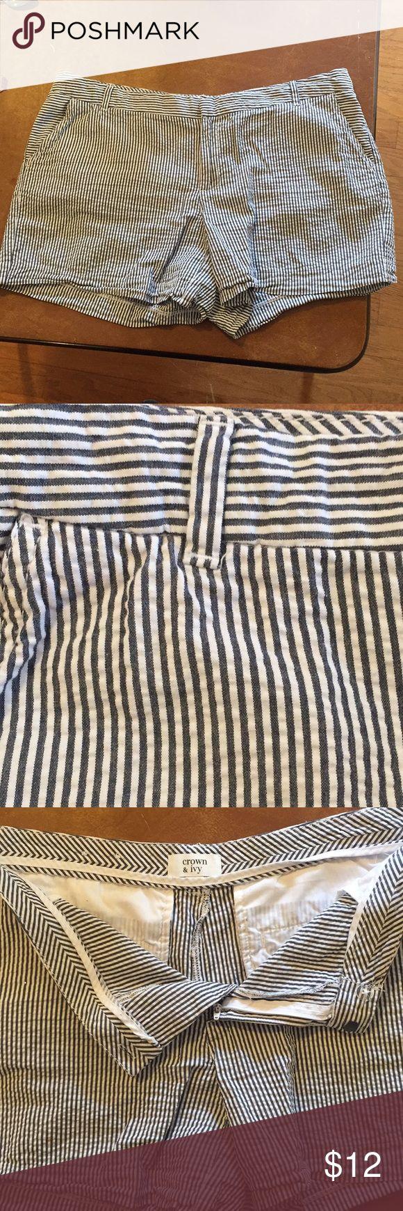 "Crown and Ivy Stripe Shorts 5"" inseam Stripe Crown & Ivy shorts purchased from Belk crown & ivy Shorts"