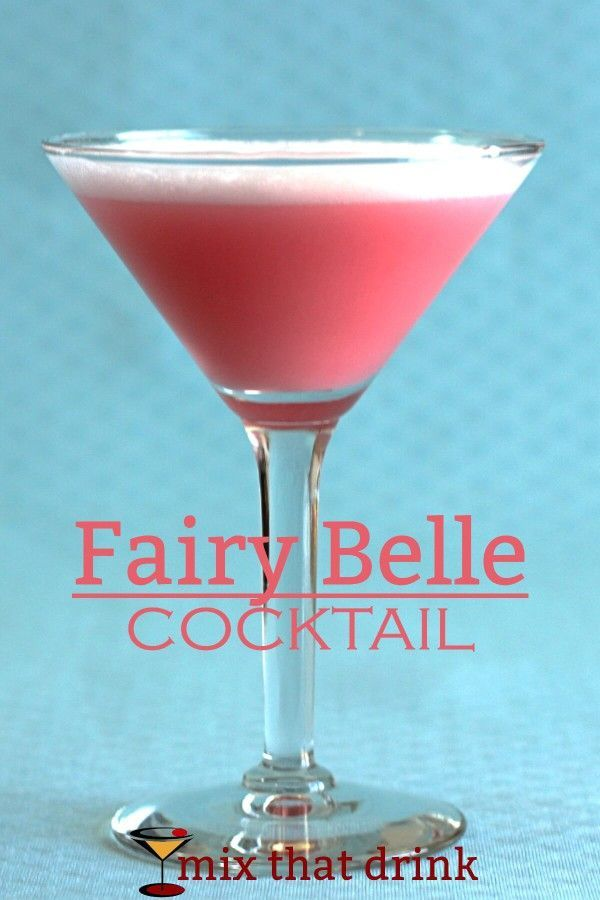 The Fairy Belle Cocktail is a pink gin cocktail, with apricot brandy, grenadine and egg white. It has a silky texture and a sweet berry flavor. It's just what you might have imagined from the name.