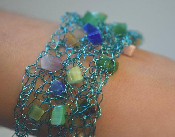 Bracelet  Bracelet aqua  Bracelet crochet  par RoseCreationsBoutik