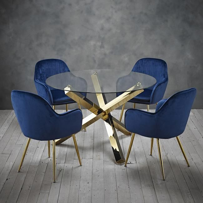Lara Royal Blue Dining Chair With Gold Legs Pair Ckhomeliving Blue Dining Chair Glass Round Dining Table Velvet Dining Chairs