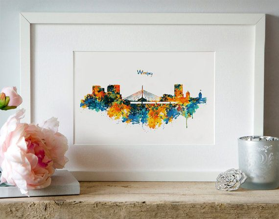 Winnipeg Watercolor Skyline Silhouette Wall art by Artsyndrome