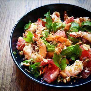 Salade de crevettes et pamplemousse à la Thaï – Copyright © Gratinez