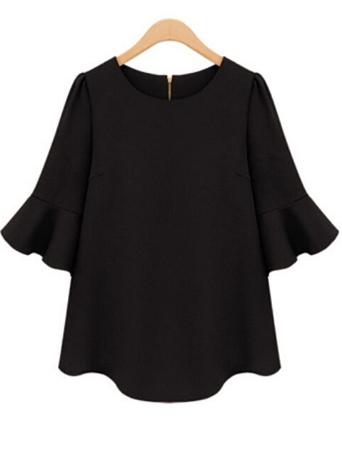 Shop Half Sleeve Flouncing Chiffon Black Blouse online. SheIn offers Half Sleeve Flouncing Chiffon Black Blouse & more to fit your fashionable needs.