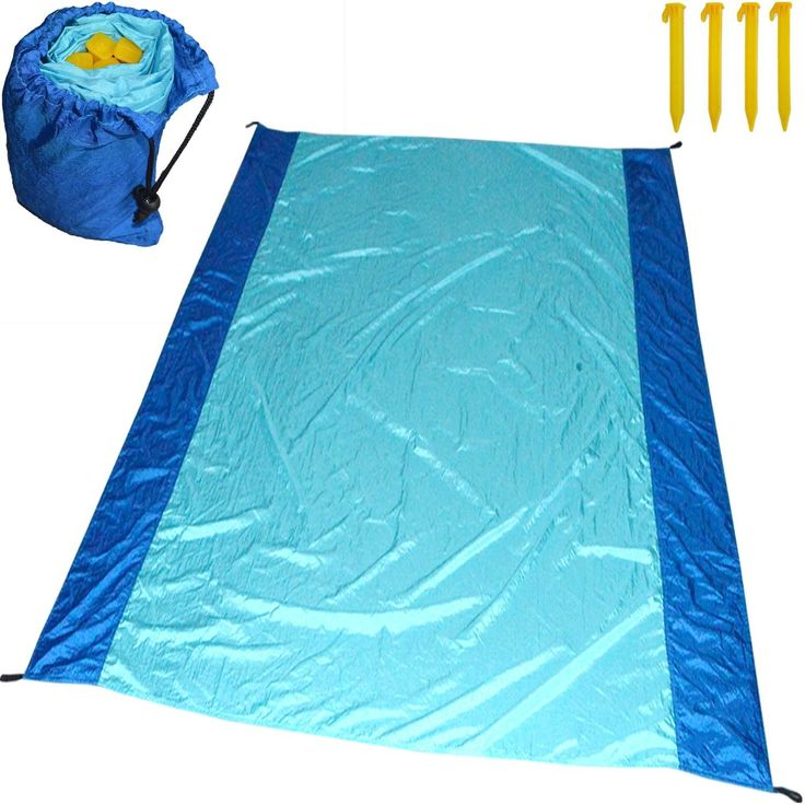 Quick dry Large Beach Blanket with valuables pocket stuff sack made of parachute nylon machine washable sand proof best for Picnic family travel camping outdoor concert tablecloth tote bag with handle. XXL Large 7 feet x 6 feet provides plenty room for two+ people. Ultra-Compact, 11oz super lightweight perfect for any outdoor activity. Comes with 4 corner weight pockets & 4 stakes to keep in place during windy conditions. Multifunctional, used as Shade, tarpaulin, Privacy Screen, Camping...