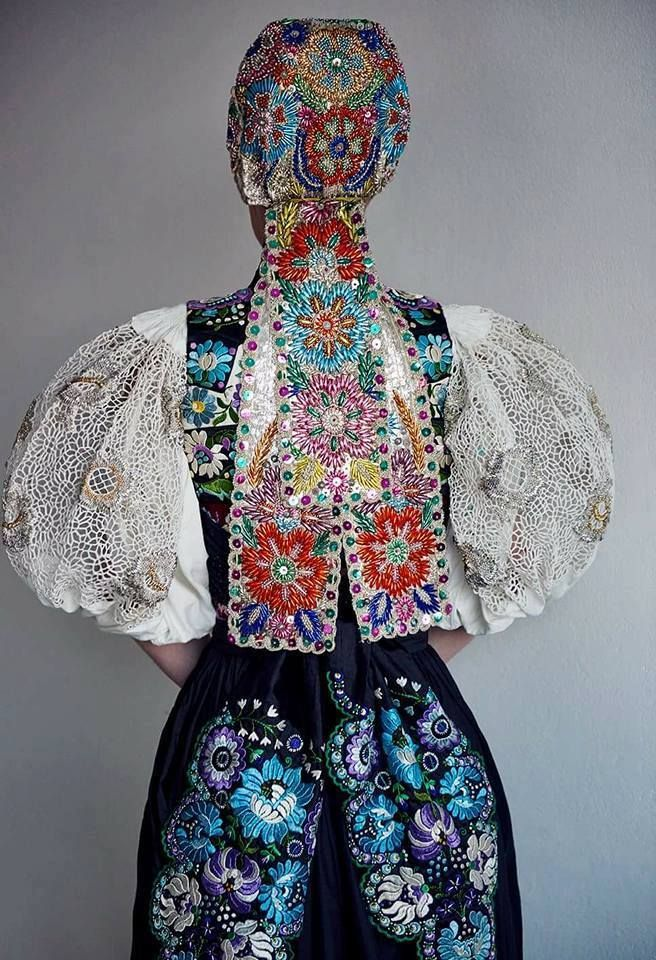 """pocarovna: """"This was the ball robe for the Slovak Opera Ball worn by Mrs. Tamara Heribanova, a known folk lover. What is so special about it? This ball is the most popular official ball in Slovakia, full of celebrities and politicians with extremely..."""