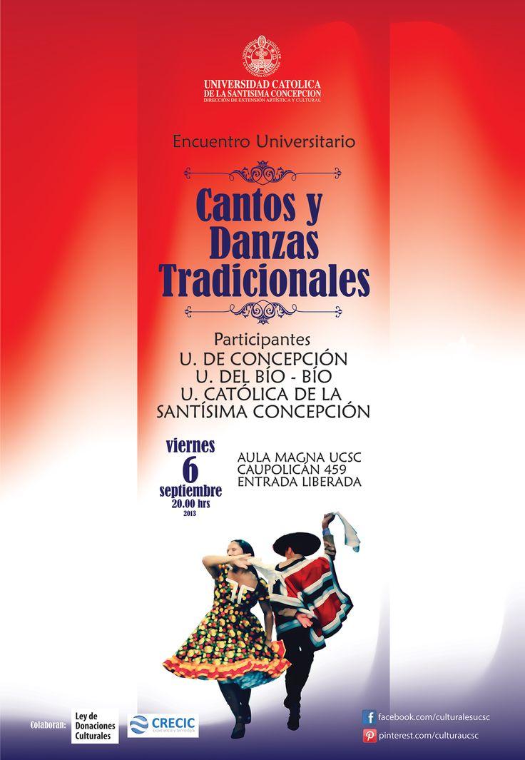 Hoy Viernes 6 de septiembre, 20:00 horas Aula Magna UCSC. Participan: U de Concepción, U del Bío Bío, y UCSC . ENTRADA LIBERADA!!!